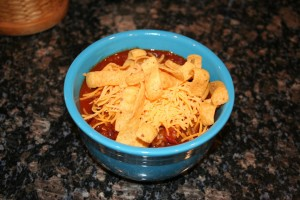 Chili with cheese and Fritos