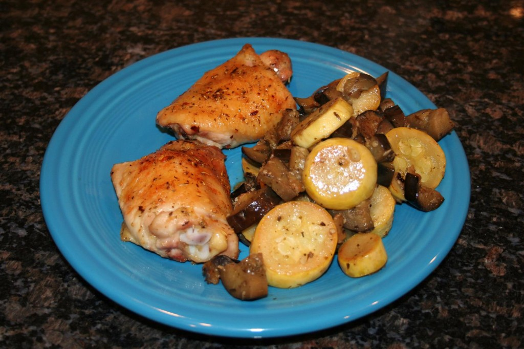 Sauteed squash with roasted chicken thighs