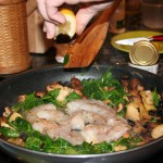 Shrimp Scampi Florentine - Cooking the shrimp