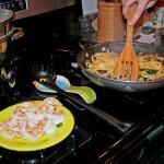 Shrimp Scampi Florentine - Set the shrimp aside